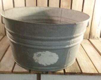 Large Vintage Bucket, Old Metal Bucket, Vintage Bucket, Large Planter, Metal Planter, Large Metal Tub, Vintage Tube, Flower Planter