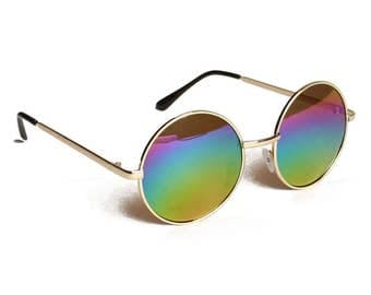 Vintage Circle Lens John Lennon Style Sunglasses - Rainbow Lens Gradient Large Round Gold Metal Frame Music Festival Retro Sunnies