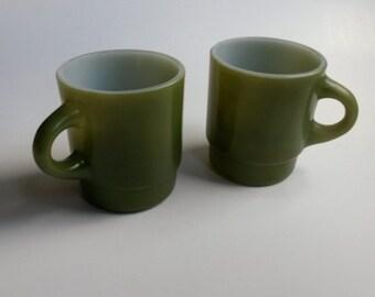 Green Fire King coffee cups, Avocado green Fire King, Vintage Fire King cups - B4
