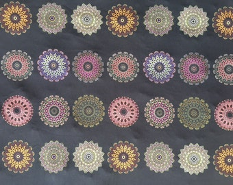 Yoga fabric mandalas half-yard, Mandala yoga pants fabric, lycra swimwear mandala fabric, spandex stretchy fabric, women's swimwear fabric