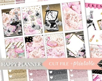 FASHION PLANNER KIT, Happy Planner Weekly, Digital Planner Sticker, Fashion girl planner stickers, Weekly Stickers, Happy Planner Weekly Kit