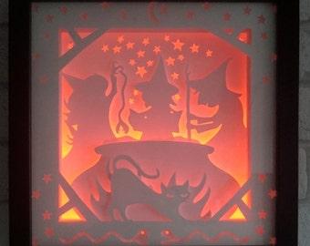 3 Witches - Shadow Box / Night Light - Handmade