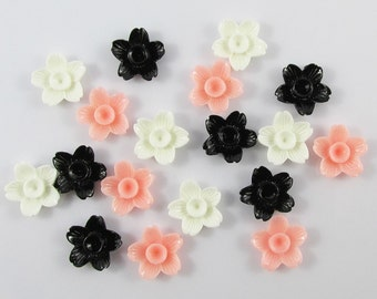 18pcs DIY Resin 5 Petal Flower Cabochon Flat Back 15mm Cards Hair Clips (CE037)