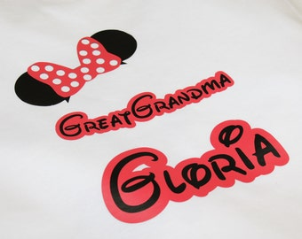 Minnie Mouse Caps for Disney Trips. Family Tshirts Custom Vinyl in Next Level Brand XS-XXL