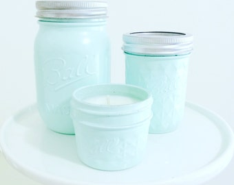 Hand painted Mason Jar Soy Wax Candle 4oz