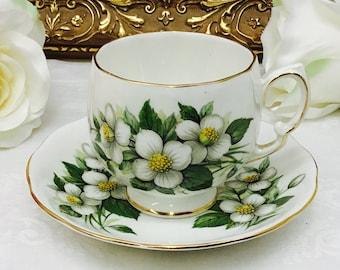 "Coclough ""Orange Blossom"" teacup and saucer."