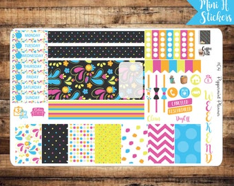 Mini H Bright Fun colors,  Mini Planner Weekly Set, Planner Stickers, {#04}