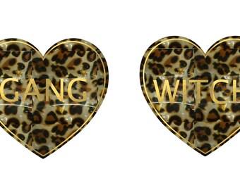 witch gang leopard  earrings