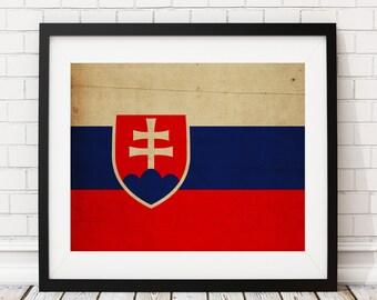 Slovakia Flag Art, Slovakia Flag Print, Flag Poster, Country Flags, Flag Painting, Slovakian Flag, Housewarming Gifts, Wall Art, Wall Decor