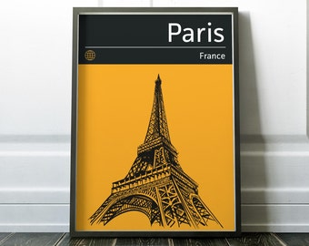 Paris Poster, Travel Print, Wall Art, Modern City Poster, Modern Travel Art, Eiffel Tower Print, Paris Art, Paris Print, Paris City Poster
