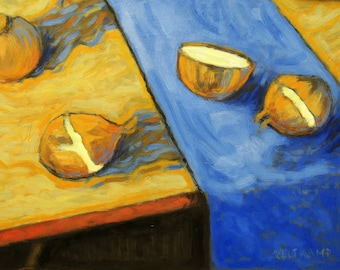 oil painting // still life of onions on a table // artistic work of art // hand-painted impressionist painting van gogh style art