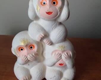 Hear No Evil, Speak No Evil, See No Evil  - Three Wise Monkeys - Vintage Figurine