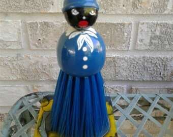 Vintage Wooden Mammy Crumb Brush Black Americana Collectible Broom Whisk Brush Clothing Brush Aunt Jemima