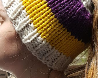 Hand Made, Messy Bun, Ponytail, Chunky, Hand Knit Beanie Hat in Purple, Yellow, Cream