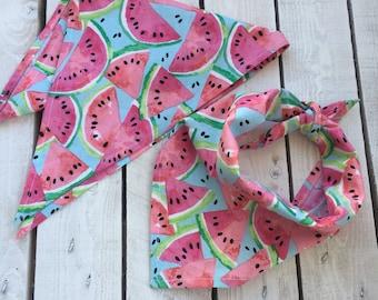 Watermelon Summer Colors - Fun Stylish Dog Bandana - Cute Doggy Scarf. For the Stylish Pup Dog and Pets. Stylish Pet Accessories