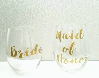 Bridal Party Stemless Wine Glasses Set l Maid of Honor l Bridesmaids l Bride l Bachelorette Party Gifts l personalized