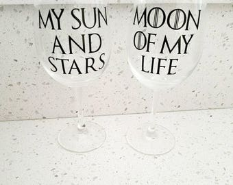 Game of Thrones inspired barware l My Sun and Stars l Moon of My Life l Wedding gift l anniversary gift l