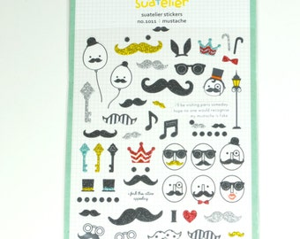 Moustache Glitter Stickers