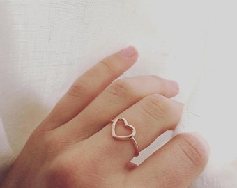 925 Silver heart rose ring