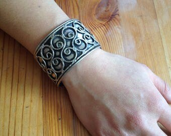 Sterling Silver curly cue cuff bracelet
