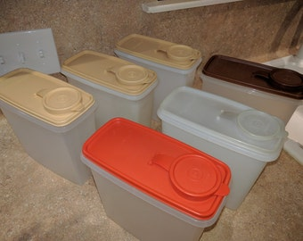Vintage Tupperware Store N Pour Cereal Keeper containers with lid - 469 -  red, sheer, brown or beige - organized pantry