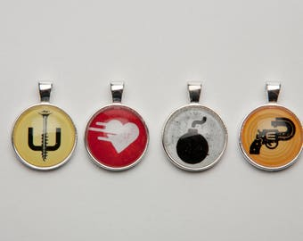 Graphics, The Bomb, Be Still My Beating Heart, Screw U, Just Shoot Me,  Necklace, Keychain, Pendant, Jewelry, Medallion, Talisman