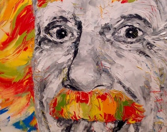 Albert Einstein Painting On Canvas Einstein Portrait Oil Painting Contemporary Art Ukrainian Painting Impressionism Wall Art Canvas Gift
