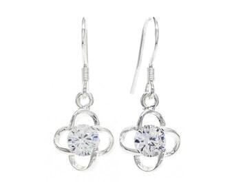 925 Sterling Silver Gem Drop Earrings, Sterling Silver Hanging Gem, Drop Sterling Silver, 925 Silver Dangle Crystal, Silver Gem, Gift Box