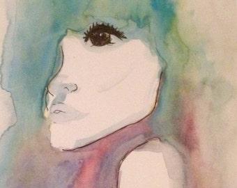FREE SHIPPING - Watercolour Woman
