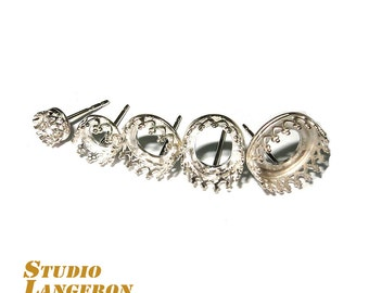 925 Real Sterling silver stud earrings with round setting bezel cups different sizes - 1 pair