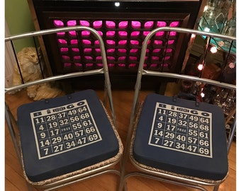 2 Vintage Bingo Seat Cushion