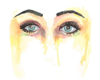Yellow Eyes Watercolor Painting