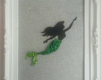 Handmade Disney Inspired Princess Ariel The Little Mermaid Framed Button Picture Art
