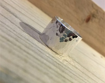 Extra Wide Sterling Silver Dimple Hammered Ring