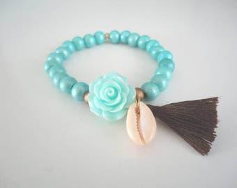 Beaded elastic bracelet.