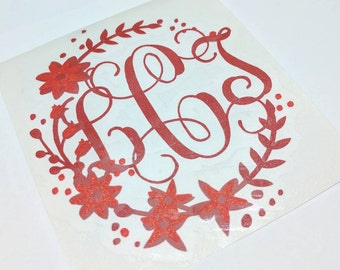 Personalized glossy Vinyl Decal, Decorative floral Monogram