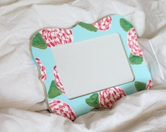 Lilly Pulitzer Wooden Frame | First Impression | Lilly Pulitzer Print | Big Little Gift | Floral Picture Frame | Dorm Decor