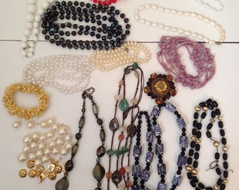 Destash Lot, 16 Pieces, Necklaces, Bracelets, Vintage Pin