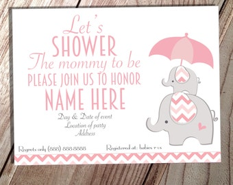 Printable Pink Elephant baby shower invite