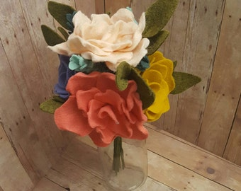 Spring felt flower bouquet, spring bouquet, wedding bouquet, felt flower bouquet, bridal bouquet, spring flowers