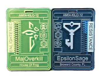 Ingress Agent Badge Laser Cut Personalised Name badge with medals for Resistance and Enlightened With optional Clip or Lanyard