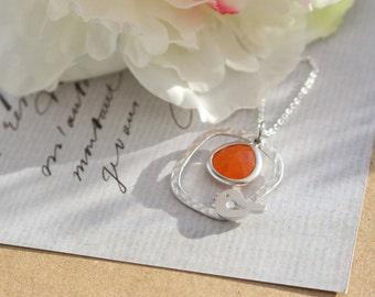 Large Bird Necklace with Orange Drop Stone