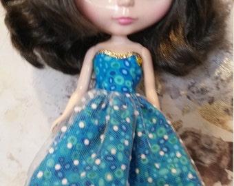 Blythe Dress – Teal Spot – Handmade