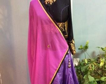 Silk crop top style Lengha set