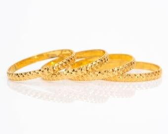 Circa 1950s Vintage Diamond Cut 18k Gold Vintage Wedding Band Ring, VJ #804A