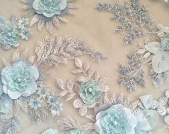Fashion lace fabric  beaded lace fabric with 3d flower elegent 3d lace fabric wedding embroidery lace bridal fabric