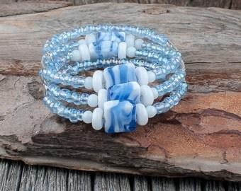 Bracelet, chic, pearls, glass, blue, white, memory wire, 3 rows, stainless steel, stainless steel, classy woman, glass pearls, sewing