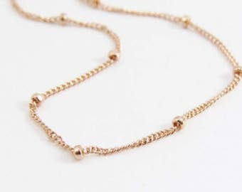 Satellite Chain, 14k Gold Necklace, Dainty Necklace, Satellite Necklace, 14k Gold Chain, Gold Jewelry, Dew Drops Necklace, Layering Necklace