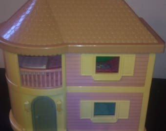 Vintage Blue Box Loving Family House Light Up Dollhouse Carry Along House