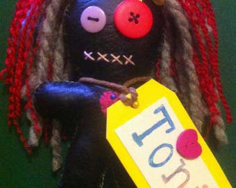 Black PVC Small Voodoo Doll With Keychain- Toni